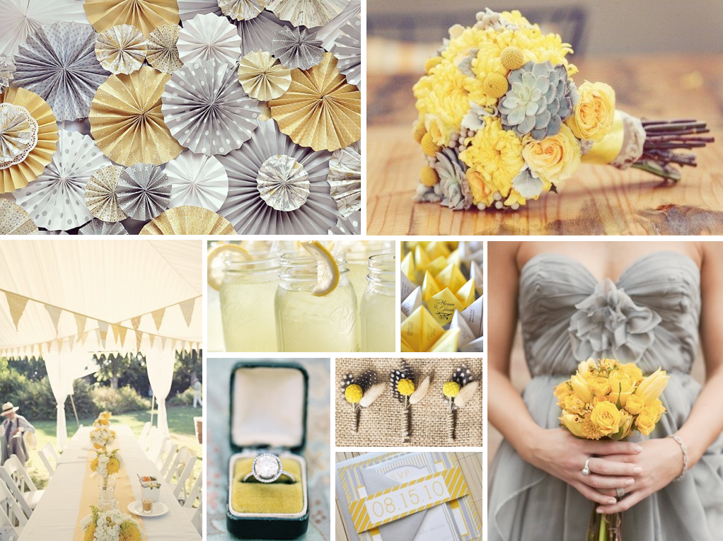 Inspiration grey yellow uk wedding blog so you 39 re - Decoration blanc et gris ...