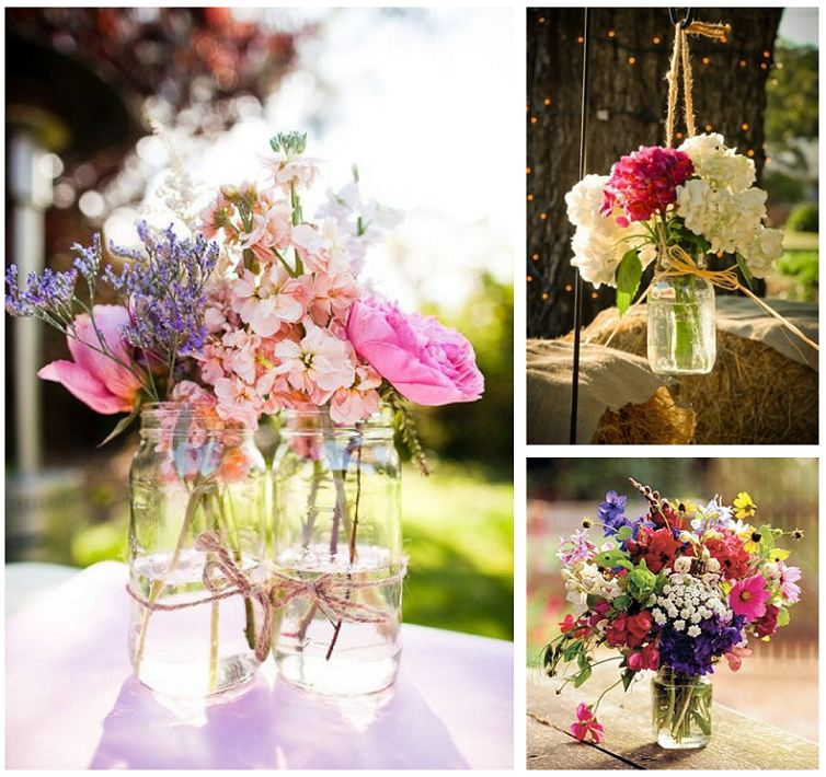 Flowers In Jars Wedding